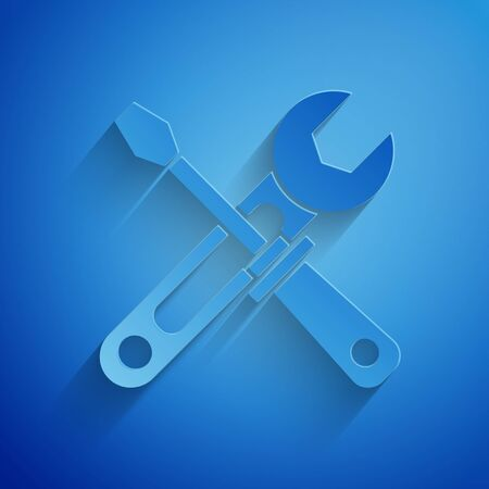 Paper cut Screwdriver and wrench tools icon isolated on blue background. Service tool symbol. Paper art style. Vector Illustration Illustration