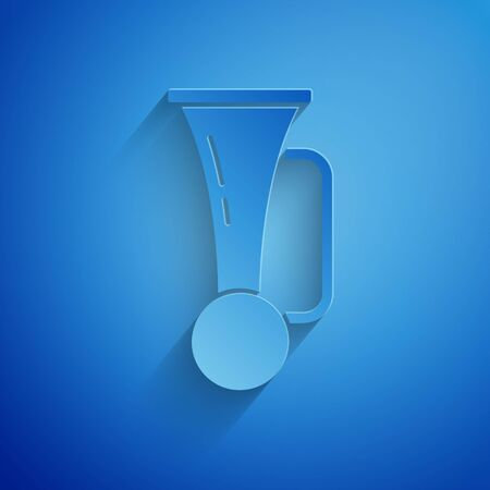 Paper cut Signal horn on vehicle icon isolated on blue background. Paper art style. Vector Illustration Illusztráció