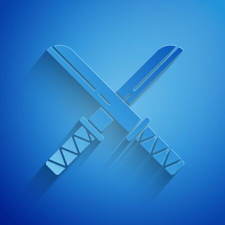 Paper cut Traditional Japanese katana icon isolated on blue background. Japanese sword. Paper art style. Vector Illustration