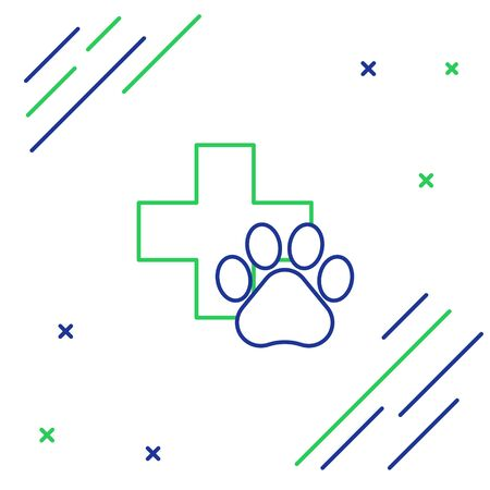 Blue and green line Veterinary clinic symbol icon isolated on white background. Cross hospital sign. A stylized paw print dog or cat. Pet First Aid sign. Colorful outline concept. Vector Illustration