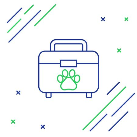 Blue and green line Pet first aid kit icon isolated on white background. Dog or cat paw print. Clinic box. Colorful outline concept. Vector Illustration