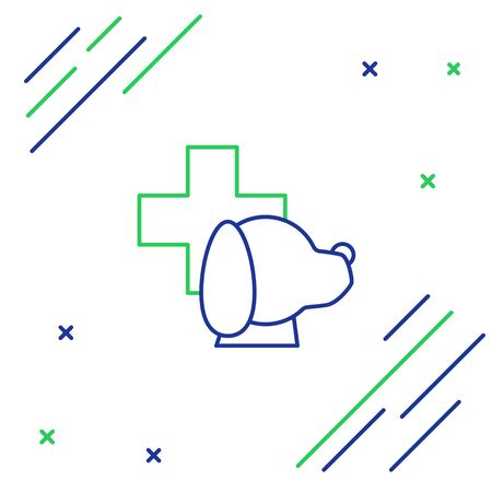 Blue and green line Veterinary clinic symbol icon isolated on white background. Cross with dog veterinary care. Pet First Aid sign. Colorful outline concept. Vector Illustration