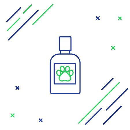Blue and green line Dog medicine bottle icon isolated on white background. Container with pills. Prescription medicine for animal. Colorful outline concept. Vector Illustration Illustration