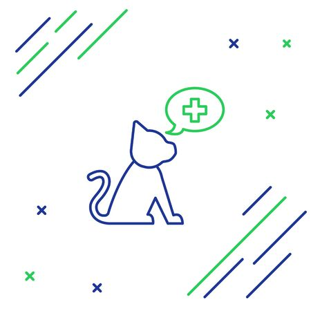 Blue and green line Veterinary clinic symbol icon isolated on white background. Cross with cat veterinary care. Pet First Aid sign. Colorful outline concept. Vector Illustration