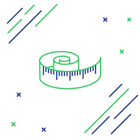 Blue and green line Tape measure icon isolated on white background. Measuring tape. Colorful outline concept. Vector Illustration