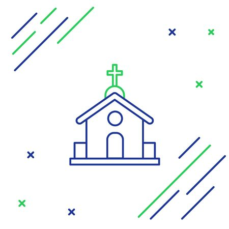Blue and green line Church building icon isolated on white background. Christian Church. Religion of church. Colorful outline concept. Vector Illustration
