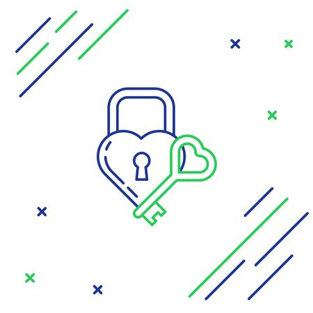 Blue and green line Lock in the shape of a heart and key icon isolated on white background. Locked Heart. Love symbol and keyhole sign. Colorful outline concept. Vector Illustration