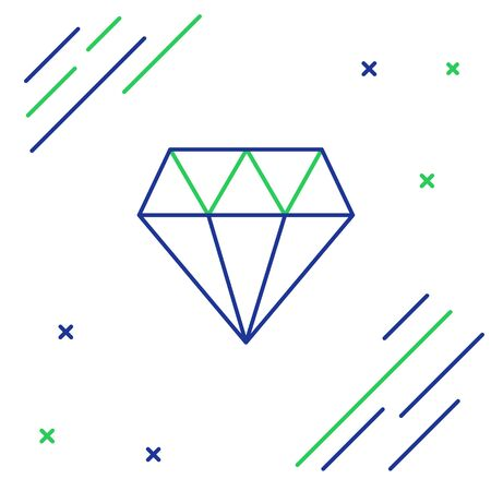 Blue and green line Diamond icon isolated on white background. Jewelry symbol. Gem stone. Colorful outline concept. Vector Illustration