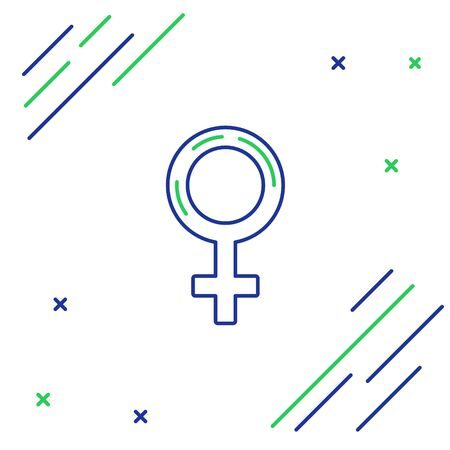 Blue and green line Female gender symbol icon isolated on white background. Venus symbol. The symbol for a female organism or woman. Colorful outline concept. Vector Illustration Foto de archivo - 134859649