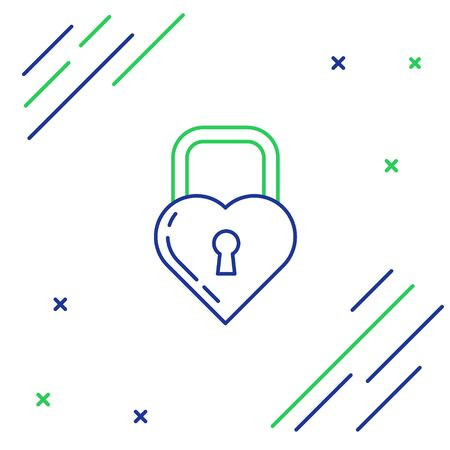 Blue and green line Lock in the shape of a heart icon isolated on white background. Locked Heart. Love symbol and keyhole sign. Colorful outline concept. Vector Illustration
