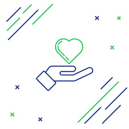 Blue and green line Heart on hand icon isolated on white background. Hand giving love symbol. Colorful outline concept. Vector Illustration Reklamní fotografie - 134859650