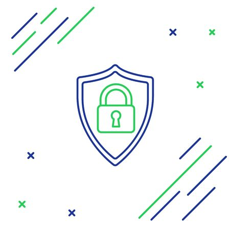 Blue and green line Shield security with lock icon on white background. Protection, safety, password security. Firewall access privacy sign. Colorful outline concept. Vector Illustration Illusztráció