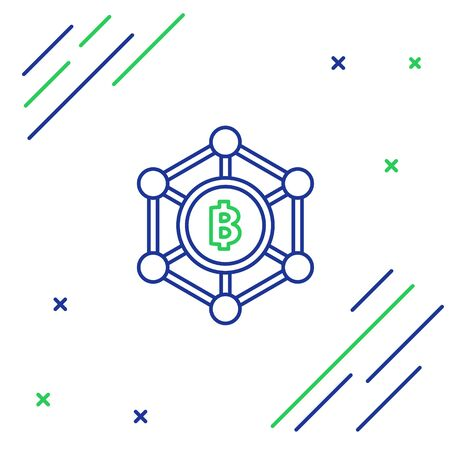 Blue and green line Blockchain technology Bitcoin icon on white background. Abstract geometric block chain network technology business. Colorful outline concept. Vector Illustration