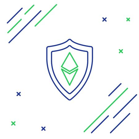 Blue and green line Shield Ethereum ETH icon on white background. Cryptocurrency mining, blockchain technology, security, protect, digital money. Colorful outline concept. Vector Illustration Illusztráció
