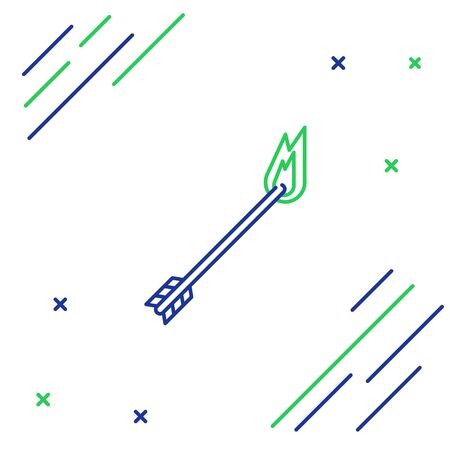 Blue and green line Flame arrow icon isolated on white background. Hipster arrow icon. Colorful outline concept. Vector Illustration Ilustracja