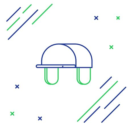 Blue and green line Hunter hat icon isolated on white background. Plaid winter hat. Colorful outline concept. Vector Illustration Ilustracja