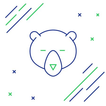 Blue and green line Bear head icon isolated on white background. Colorful outline concept. Vector Illustration