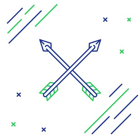 Blue and green line Crossed arrows icon isolated on white background. Colorful outline concept. Vector Illustration Ilustracja
