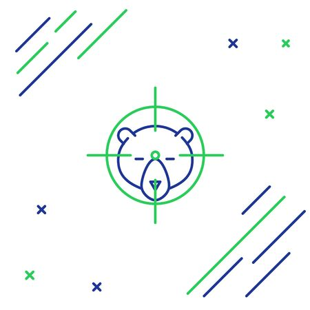 Blue and green line Hunt on bear with crosshairs icon isolated on white background. Hunting club with bear and target. Rifle lens aiming a bear. Colorful outline concept. Vector Illustration