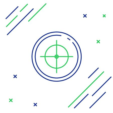 Blue and green line Target sport for shooting competition icon isolated on white background. Clean target with numbers for shooting range or shooting. Colorful outline concept. Vector Illustration