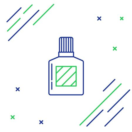 Blue and green line Aftershave icon isolated on white background. Cologne spray icon. Male perfume bottle. Colorful outline concept. Vector Illustration