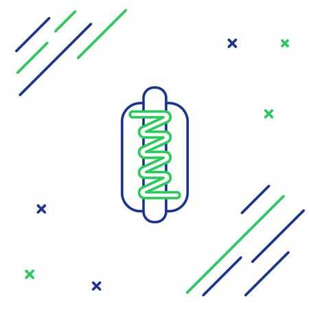Blue and green line Hotdog sandwich with mustard icon isolated on white background. Sausage icon. Fast food sign. Colorful outline concept. Vector Illustration  イラスト・ベクター素材