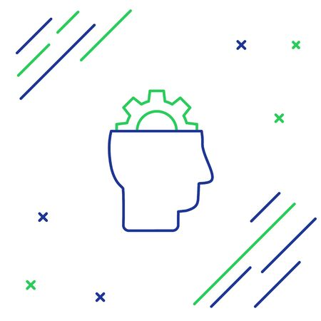 Blue and green line Human with gear inside icon isolated on white background. Artificial intelligence. Thinking brain sign. Symbol work of brain. Colorful outline concept. Vector Illustration Ilustracja