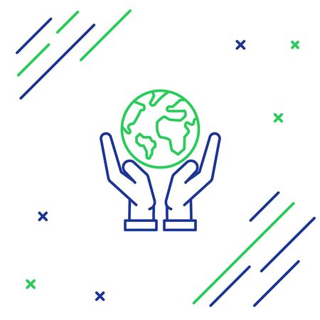 Blue and green line Human hands holding Earth globe icon isolated on white background. Save earth concept. Colorful outline concept. Vector Illustration