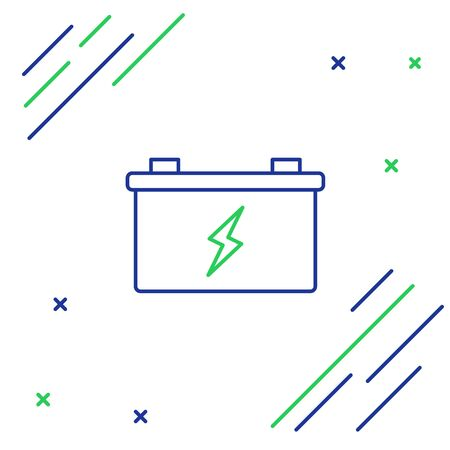 Blue and green line Car battery icon isolated on white background. Accumulator battery energy power and electricity accumulator battery. Colorful outline concept. Vector Illustration