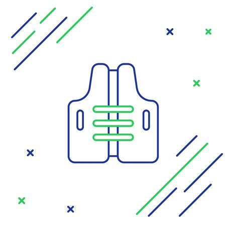 Blue and green line Life jacket icon isolated on white background. Life vest icon. Extreme sport. Sport equipment. Colorful outline concept. Vector Illustration