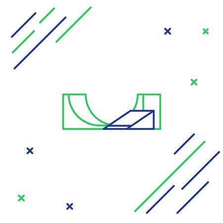 Blue and green line Skate park icon isolated on white background. Set of ramp, roller, stairs for a skatepark. Extreme sport. Colorful outline concept. Vector Illustration