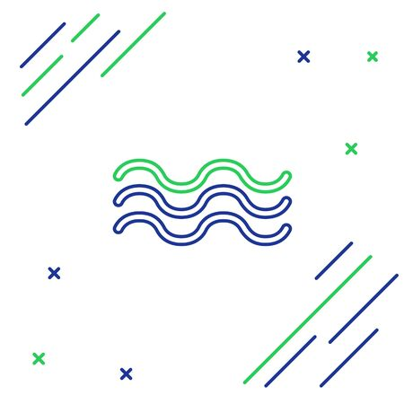 Blue and green line Waves icon isolated on white background. Colorful outline concept. Vector Illustration