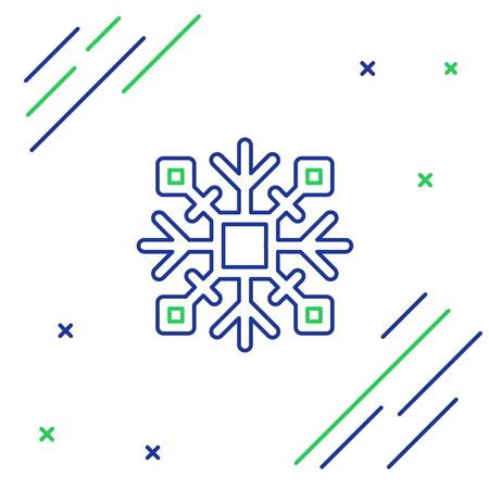 Blue and green lineSnowflake icon isolated on white background. Colorful outline concept. Vector Illustration