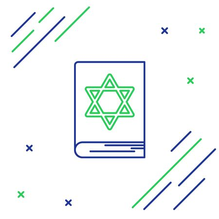 Blue and green line Jewish torah book icon isolated on white background. Pentateuch of Moses. On the cover of the Bible is the image of the Star of David. Colorful outline concept. Vector Illustration