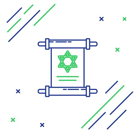 Blue and green line Torah scroll icon isolated on white background. Jewish Torah in expanded form. Star of David symbol. Old parchment scroll. Colorful outline concept. Vector Illustration