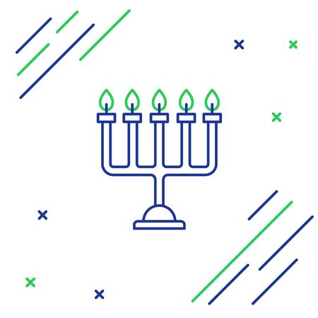 Blue and green line Hanukkah menorah icon isolated on white background. Hanukkah traditional symbol. Holiday religion, jewish festival of Lights. Colorful outline concept. Vector Illustration Ilustracja