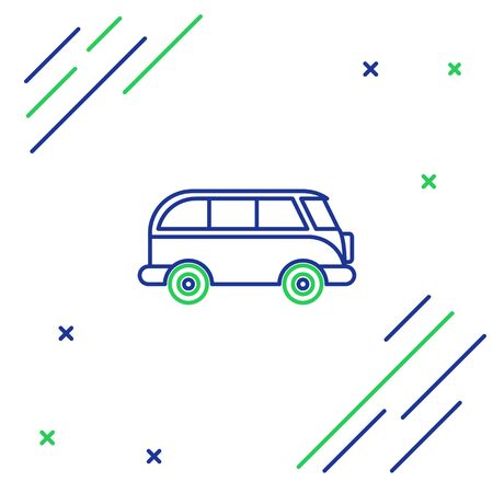 Blue and green line Retro minivan icon isolated on white background. Old retro classic traveling van. Colorful outline concept. Vector Illustration Foto de archivo - 134860421
