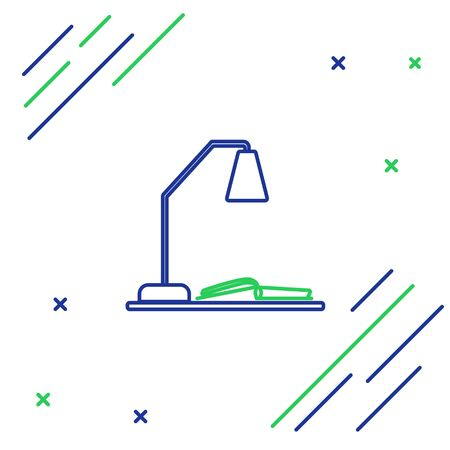 Blue and green line Workplace with table lamp and open book icon isolated on white background. Table office lamp. Colorful outline concept. Vector Illustration