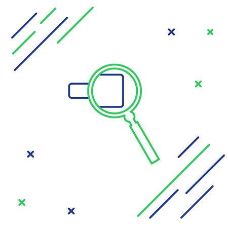 Blue and green line Magnifying glass icon isolated on white background. Search, focus, zoom, business symbol. Colorful outline concept. Vector Illustration Ilustracja