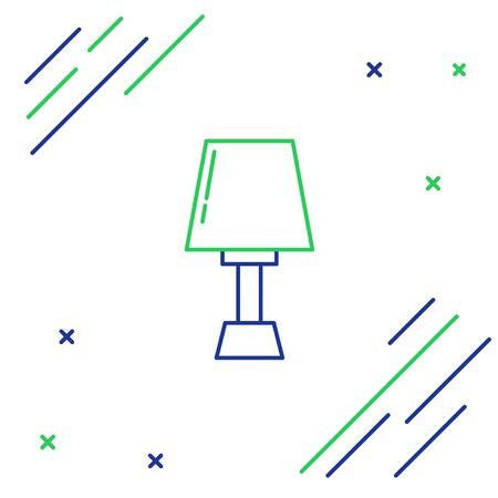 Blue and green line Table lamp icon isolated on white background. Colorful outline concept. Vector Illustration