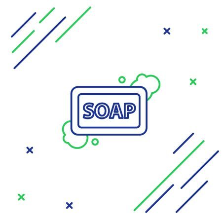 Blue and green line Bar of soap with foam icon isolated on white background. Soap bar with bubbles. Colorful outline concept. Vector Illustration