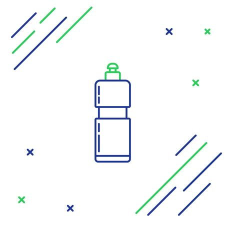 Blue and green line Plastic bottle for liquid laundry detergent, bleach, dishwashing liquid or another cleaning agent icon isolated on white background. Colorful outline concept. Vector Illustration Vecteurs