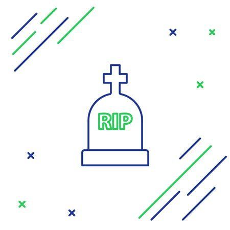 Blue and green line Tombstone with RIP written on it icon isolated on white background. Grave icon. Colorful outline concept. Vector Illustration
