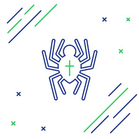 Blue and green line Spider icon isolated on white background. Happy Halloween party. Colorful outline concept. Vector Illustration