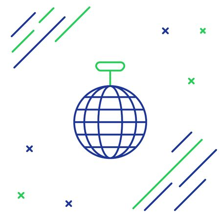 Blue and green line Disco ball icon isolated on white background. Colorful outline concept. Vector Illustration