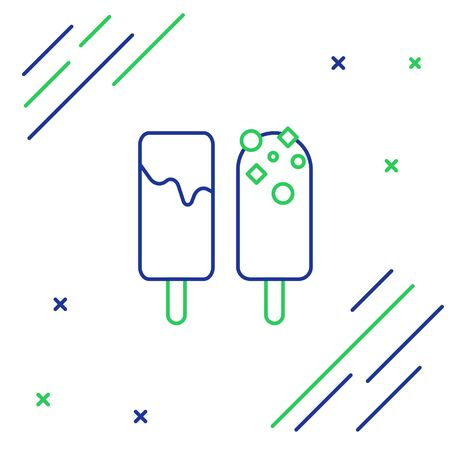 Blue and green line Ice cream icon isolated on white background. Sweet symbol. Colorful outline concept. Vector Illustration