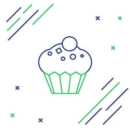 Blue and green line Muffin icon isolated on white background. Colorful outline concept. Vector Illustration Stock Illustratie