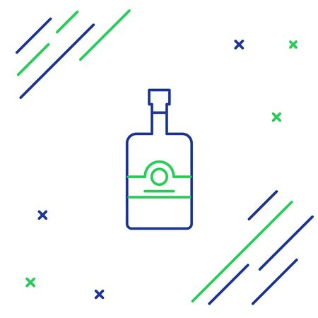 Blue and green line Whiskey bottle icon isolated on white background. Colorful outline concept. Vector Illustration