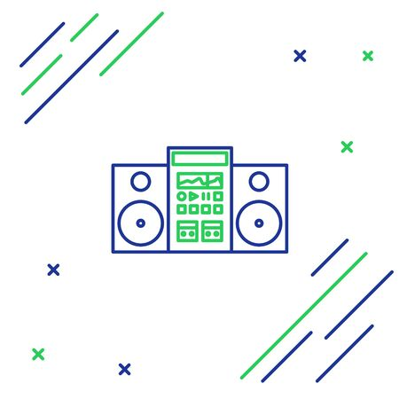 Blue and green line Home stereo with two speakers icon isolated on white background. Music system. Colorful outline concept. Vector Illustration Illusztráció