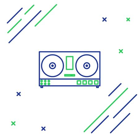 Blue and green line DJ remote for playing and mixing music icon isolated on white background. DJ mixer complete with vinyl player and remote control. Colorful outline concept. Vector Illustration